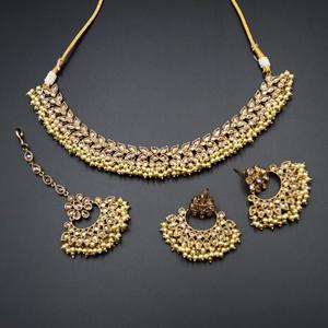 Fara Gold Polki  Necklace Set - Antique Gold
