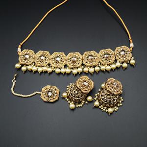 Rea Gold Polki Choker Necklace Set - Antique Gold
