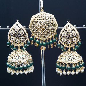 Metja - Green Earring Tikka Set - Gold