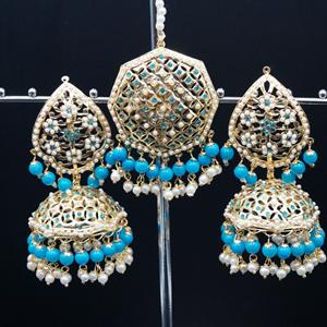 Metja -Turquoise Earring Tikka Set - Gold