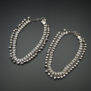 Nitya- White Polki/ Ghungroo Payals - Silver