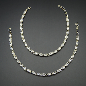 Shere- White Polki Payals - Silver