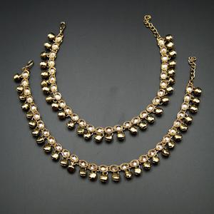 Karli -Gold Polki Stone Ghungroo Payals - Antique Gold