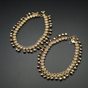 Jaida -Gold Polki Stone Ghungroo Payals - Antique Gold