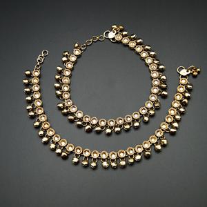 Palma -Gold Polki Stone Ghungroo Payals - Antique Gold