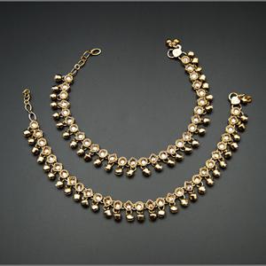 Edan -Gold Polki Stone Ghungroo Payals - Antique Gold