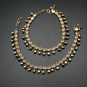 Nika -Gold Polki Stone Ghungroo Payals - Antique Gold