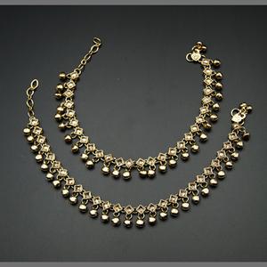 Demi -Gold Polki Stone Ghungroo Payals - Antique Gold