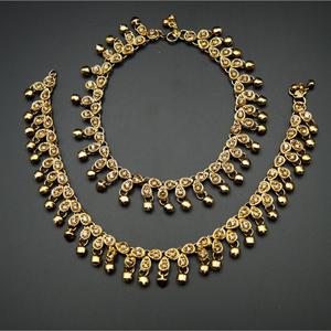Kaleb -Gold Diamante Stone Ghungroo Payals - Antique Gold