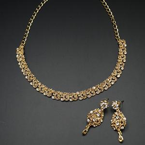 Joyal - Gold /White Diamante Necklace Set - Gold