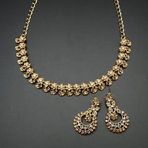 Xamal - Gold /White Diamante Necklace Set - Gold