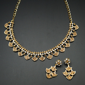Hoor  - Gold /White Diamante Necklace Set - Gold