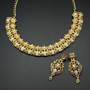 Ketki- Gold /White Diamante Necklace Set - Gold