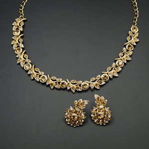 Tamari - Gold /White Diamante Necklace Set - Gold