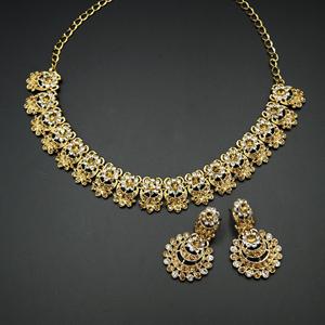 Lakya  - Gold /White Diamante Necklace Set - Gold
