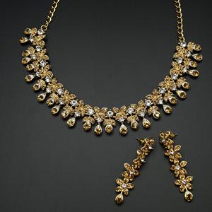 Nakti  - Gold /White Diamante Necklace Set - Gold