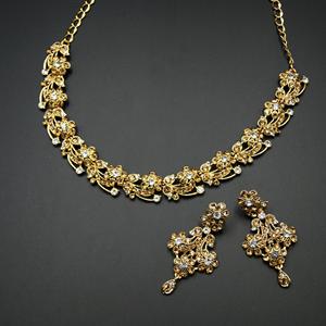 Naaz- Gold /White Diamante Necklace Set - Gold