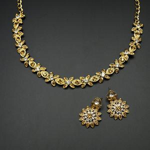 Odika - Gold /White Diamante Necklace Set - Gold