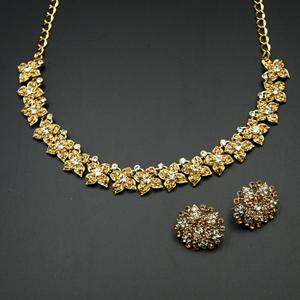 Watika- Gold /White Diamante Necklace Set - Gold