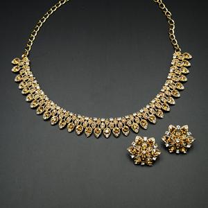Jaina- Gold /White Diamante Necklace Set - Gold