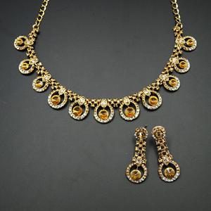 Juana - Gold /White Diamante Necklace Set - Gold