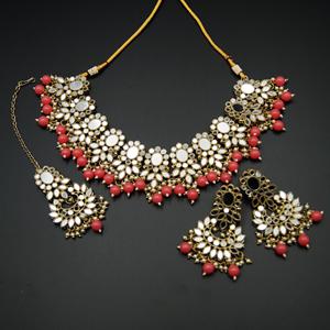 Usha- White Mirror/ Coral Beads Necklace  Set - Antique Gold