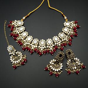 Usha- White Mirror/Cerise Beads Necklace  Set - Antique Gold