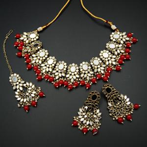 Usha- White Mirror/Red Beads Necklace  Set - Antique Gold