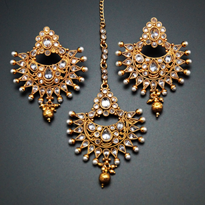 Urva-White Polki Stone Earring Tikka Set -Gold