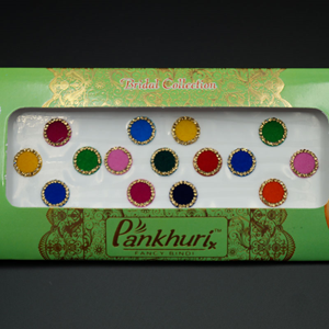 Pankhuri - Velvet Multi Pack of Round Gold Diamante Dot Bindi-12mm