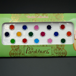 Pankhuri - Velvet Multi Pack of Round White Diamante Dot Bindi-11mm