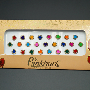 Pankhuri - Velvet Multi Pack of Round Gold Diamante Dot Bindi-8mm