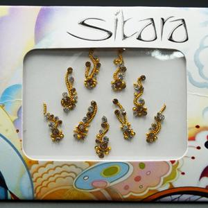 Sitara Round Gold/White Rhinestone Bindi