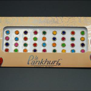 Pankhuri - Velvet Multi Pack of Round Gold Diamante Dot Bindi-8mm
