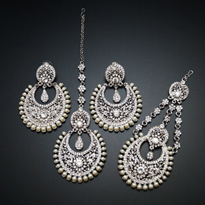 Zina White Diamante Earring Tikka and Passa/Jhoomer Set - Silver