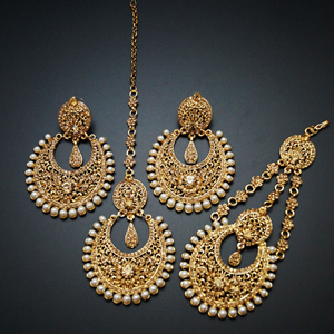Zina Gold Diamante Earring Tikka and Passa/Jhoomer Set - Gold