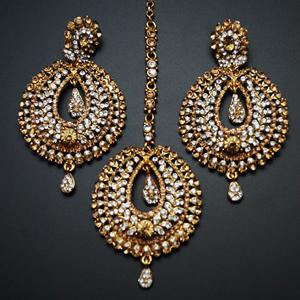 Kyra Gold and White Diamante Earring Tikka Set - Gold