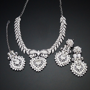 Tyra White Diamante Necklace Set - Silver