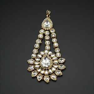 Gunaii- White Diamantes and Pearl Passa/Jhoomer-Gold