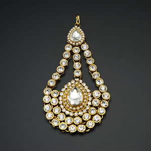 Dali White Diamantes and Pearl Passa/Jhoomer-Gold