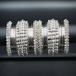 Priy White Stone Bangle Set - Silver