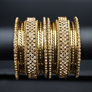 Vika Gold Diamante Bangle Set - Gold