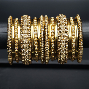 Jiara Gold Diamante Bangle Set - Gold