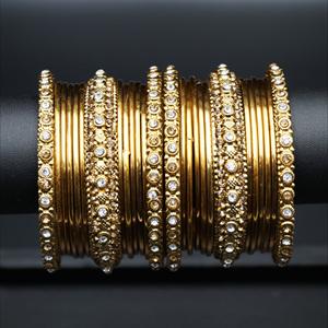 Avdhi White and Gold Diamante Bangle Set - Gold