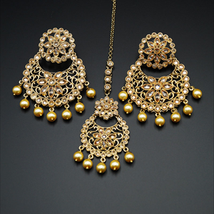 Afaf Gold Polki Stone and Pearl Earring Tikka Set - Antique Gold