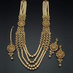 Varni Gold Kundan and Pearl Rani Haar Set - Gold