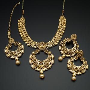 Jisha Gold Diamante and Pearl Necklace Set - Gold