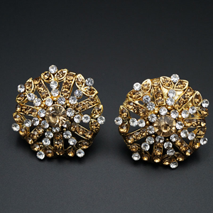 Haan Gold/White Diamante Earrings - Gold