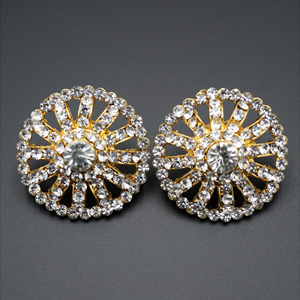 Ridit  White Diamante Earrings - White