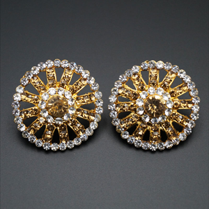 Ridit Gold/ White Diamante Earrings - Gold